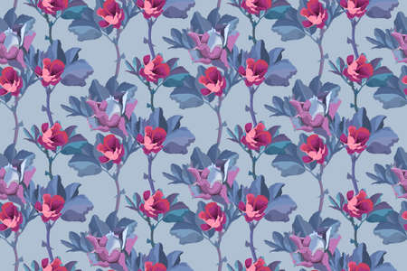 Vector floral seamless pattern. Flowers background. Small pink buds of roses, blue leaves isolated on light gray background. 矢量图像