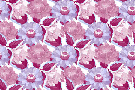 Vector floral seamless pattern. Maroon, violet, purple, burgundy garden flowers and leaves isolated on white background. Beautiful peonies, zinnias. 免版税图像 - 155123480