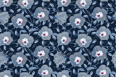 Floral vector seamless pattern. Gray, blue morning glory flowers, branches and leaves. Vector flowers isolated on navy blue background. Endless pattern for wallpaper, fabric, textiles. 免版税图像 - 154400475