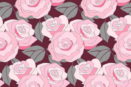 Art floral vector seamless pattern with roses. Pink and white roses in bouquets with gray leaves isolated on maroon background. For fabric, home and kitchen textile, paper, wallpaper design. 矢量图像