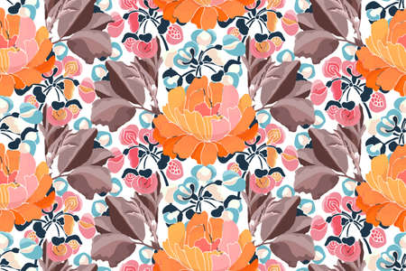 Vector floral seamless pattern. Pink, yellow, red, blue flowers and brown leaves isolated on white. Autumn background.