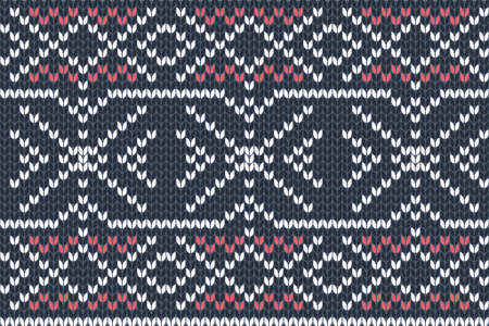 Vector seamless Knitting Pattern in navy blue, red and white colors. Autumn, Christmas and Winter holiday Sweater Design. Fair Isle with purl stitch method. Scheme for plane knitting.