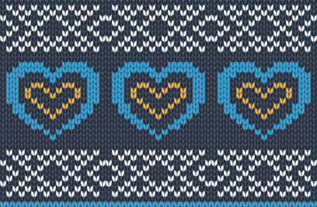 Vector seamless Knitting Pattern in blue, yellow and white colors. Autumn, Christmas and Winter holiday Sweater Design with hearts. Fair Isle with purl stitch method. Scheme for plane knitting. 免版税图像 - 155695320