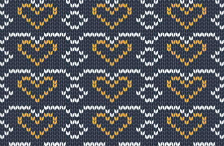 Vector seamless Knitting Pattern in blue, yellow and white colors. Autumn Design with hearts. Scheme of knitted pattern for plaid.