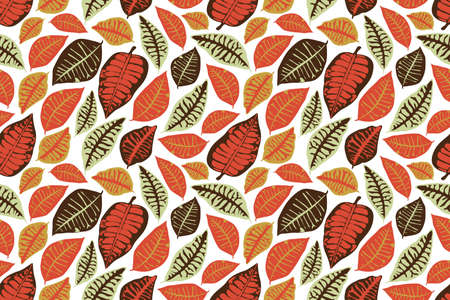 Vector floral seamless pattern. Autumn background with colorful leaves. isolated on white background. 免版税图像 - 155695322