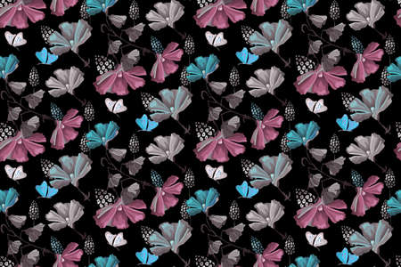 Delicate floral seamless pattern. Vector blue, pink flowers and butterflies isolated on black background. 矢量图像