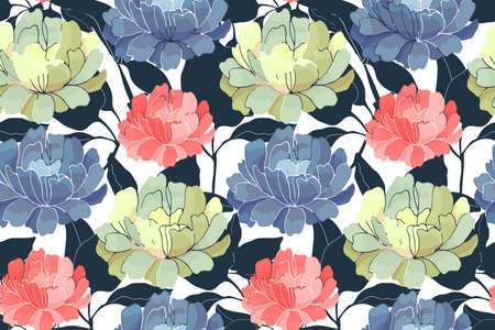 Vector floral seamless pattern. Pink, yellow, blue garden flowers with navy blue branches and leaves isolated on white background. For fabric, wallpaper design, kitchen textile, banners, cards.