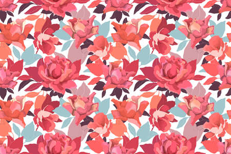 Vector floral seamless pattern with roses. Delicate garden flowers and leaves in a warm color scheme on a white background. Ilustrace