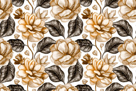 Art floral seamless pattern. Watercolor coffee-colored flowers and leaves on white background. For fabric, wallpaper design, kitchen textile, banners, cards. 免版税图像