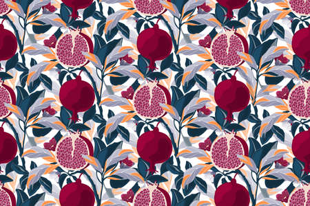 Art floral vector seamless pattern. Pomegranate tree with maroon fruits, blue, violet, orange leaves. Ripe pomegranates with grains and flowers isolated on a white background. 矢量图像