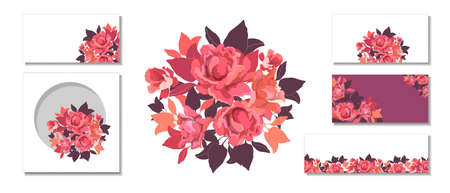 Set of vector flowers. Pink, red, coral color roses, chocolate and orange leaves. Floral bouquet, template, card, seamless pattern, border, banner. Vector floral elements isolated on white background.
