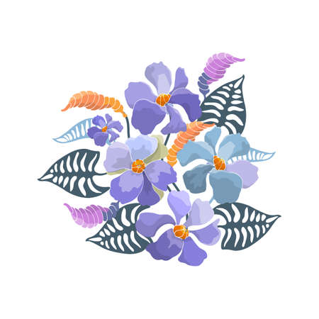 Floral bouquet. Vector blue abstract flowers, buds, green leaves. Floral illustration, watercolor style. 矢量图像