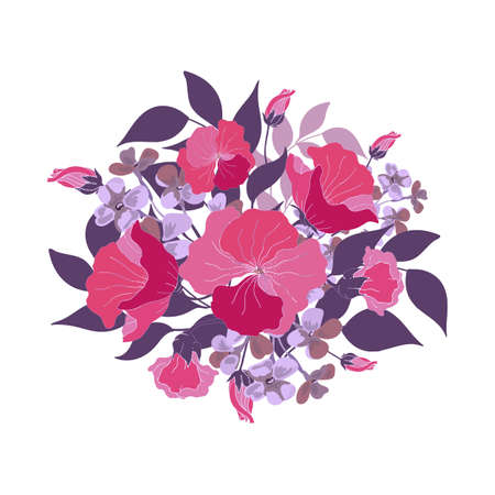 Floral bouquet. Pink, purple, violet abstract vector flowers, buds, blue leaves. Floral illustration, watercolor style.