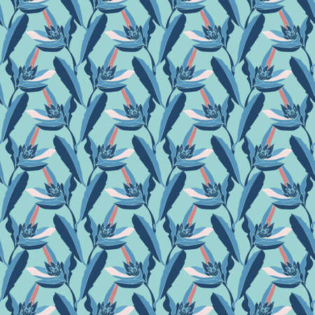 Vector floral seamless pattern. Blue stems, flowers and leaves isolated on ice blue background. 免版税图像 - 155695338