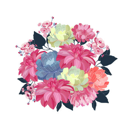 Floral bouquet. Pink, yellow, blue vector flowers, blue leaves on white background. Floral illustration, watercolor style.