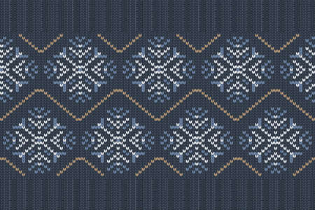 Vector seamless Nordic Knitting Pattern in blue, white colors with snowflakes. Christmas and Winter holiday Sweater Design with elastic band. Plain and ribbed knitting. 矢量图像