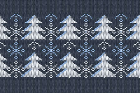Christmas and Winter holiday knitting pattern for plaid, sweater design. Vector seamless pattern in blue, white colors with Christmas trees and snowflakes. Plain and ribbed knitting, elastic band. Ilustrace