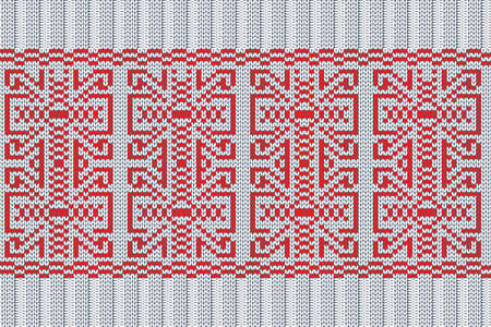Christmas and Winter holiday knitting pattern for plaid, sweater design. Vector seamless pattern in white, red colors with elastic band. Plain and ribbed knitting.