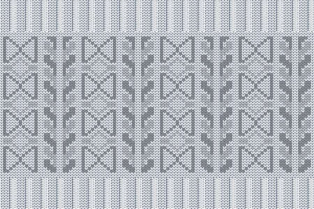 Christmas and Winter holiday knitting pattern for plaid, sweater design. Vector seamless pattern in white, gray colors with elastic band. Plain and ribbed knitting.