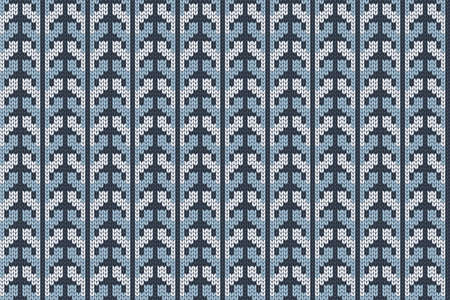 Christmas and Winter holiday knitting pattern for plaid, sweater design. Vector seamless pattern in blue, white colors. Reklamní fotografie - 157169969