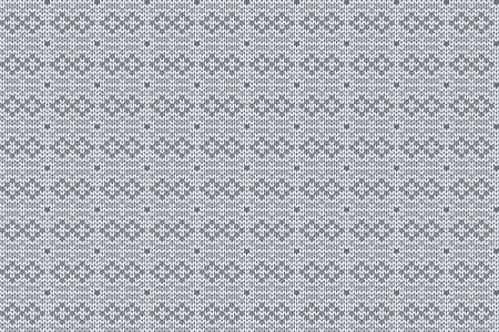 Christmas and Winter holiday knitting pattern for plaid, sweater design. Vector seamless pattern in gray, white colors. 矢量图像