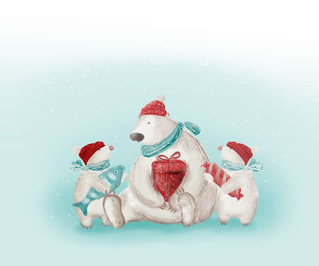 Christmas card. Polar bear with cubs. Funny animals in hats and scarves holding in the paws a gift box, a fish, a piece of candy. Sketch. 免版税图像