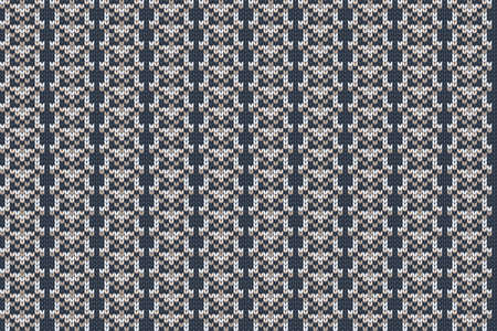 Christmas and Winter holiday knitting pattern for plaid, sweater design. Vector seamless pattern in blue, white, brown colors. Reklamní fotografie - 158025663