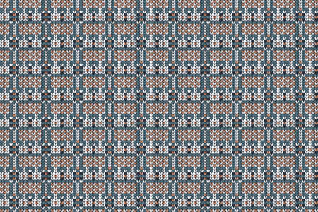 Christmas and Winter holiday knitting pattern for plaid, sweater design. Vector seamless pattern in turquoise, white, brown colors.