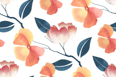 Floral seamless pattern on  white Ilustrace