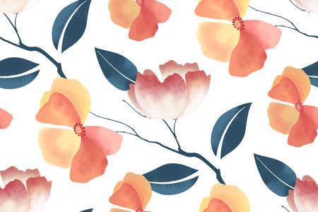 Floral seamless pattern on  white 矢量图像