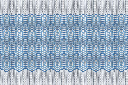 Christmas and Winter holiday knitting pattern for plaid, sweater design. Vector seamless pattern in blue, gray colors. Plain and ribbed knitting, elastic band.