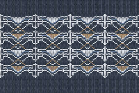 Vector seamless Nordic Knitting Pattern in blue, white, brown colors. Christmas and Winter holiday Sweater, plaid Design with elastic band. Plain and ribbed knitting. 矢量图像