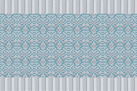 Christmas and Winter holiday knitting pattern for plaid, sweater design. Vector seamless pattern in turquoise, gray colors with elastic band. Plain and ribbed knitting. 免版税图像 - 158391266