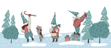 Christmas design with the three elves in the caps.