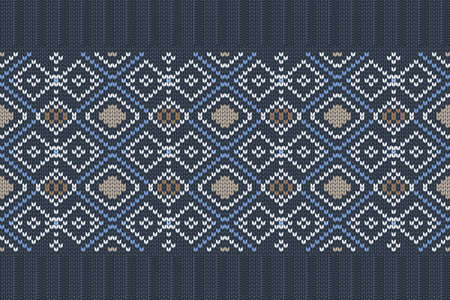Vector seamless Nordic Knitting Pattern in blue, white, brown colors with snowflakes. Christmas and Winter holiday Sweater, plaid Design with elastic band. Plain and ribbed knitting.