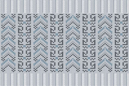Vector seamless Nordic Knitting Pattern in blue, gray colors. Christmas and Winter holiday Sweater, plaid Design with elastic band. Plain and ribbed knitting.