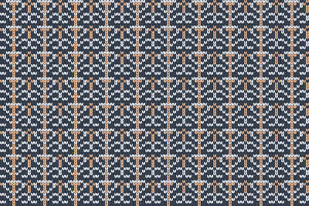 Vector seamless Nordic Knitting Pattern in blue, orange, gray colors. Christmas and Winter holiday Sweater, plaid Design. 免版税图像 - 158679361
