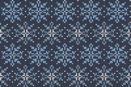Christmas and Winter holiday knitting pattern for plaid, sweater design. Vector seamless pattern in blue colors with snowflakes.