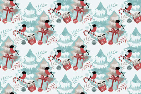 Merry Christmas, Happy New Year vector seamless pattern. Christmas trees, gift boxes with bows, snowflakes, candy, Christmas balls, staffs, bullfinches. Winter holiday elements isolated on white.
