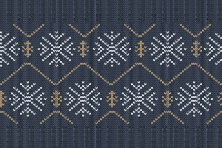 Christmas and Winter holiday knitting pattern for plaid, sweater design. Vector seamless pattern. 免版税图像 - 159019319