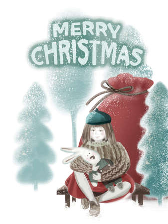 Christmas card. A girl in a turquoise beret, knitted jumper, red skirt, white tights, brown shoes sits on a bench, holds a toy Bunny. Large red gift bag. Winter landscape, snow-covered Christmas trees