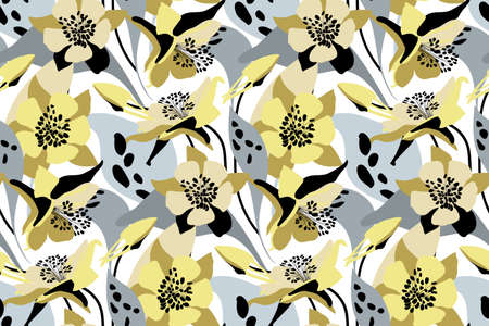 Vector floral seamless pattern. Flower background. Yellow, gray flowers, buds, leaves isolated on white background. 矢量图像
