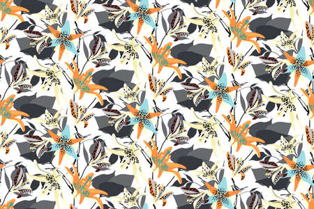 Vector floral seamless pattern with lilies. Flower background. Orange, blue, yellow flowers, gray leaves isolated on white background.
