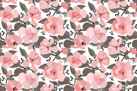 Vector floral seamless pattern with a Chinese rose. Delicate pink flowers and buds, black twigs and brown leaves on a white background.