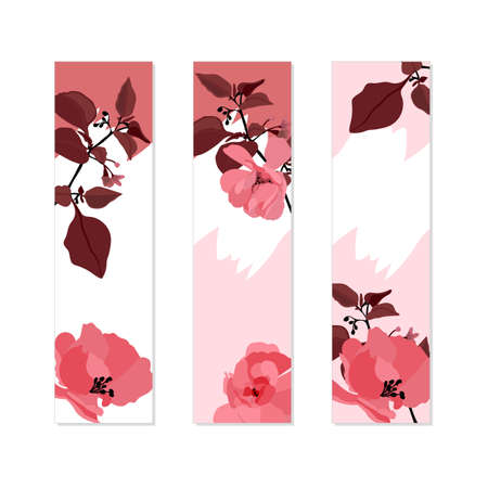 Vector floral banner. Pink roses, brown leaves on white background. 矢量图像