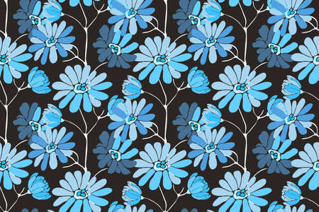 Vector floral seamless pattern. Delicate flower background. Blue flowers on dark background. 矢量图像