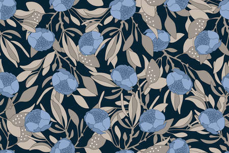 Vector floral seamless pattern. Gentle flower background. Blue buds, brown branches and leaves isolated on dark background.