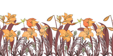 Vector floral seamless border. Flower background. Seamless pattern with orange lily flowers, brown leaves. Floral elements isolated on white background. 矢量图像