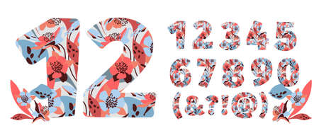 Vector flower numbers from 0 to 9. Botanical character, figure. Pink, blue, chocolate color flowers in the shape of a bold number. Garden flowers with branches and leaves.