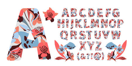 Vector floral alphabet from A to Z. Letters with flowers. Capital characters. Botanical monogram. Pink, blue, chocolate color flowers, buds, twigs, leaves in the shape of a bold letter.
